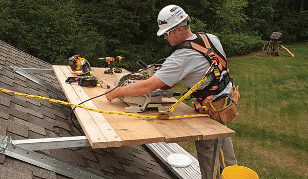 roofing Use Safety Brackets And Planks