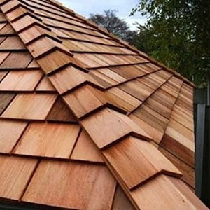 wooden shingle which can last from 30 to 50 years.